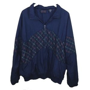 Vintage Retro Plaid Navy Blue Windbreaker